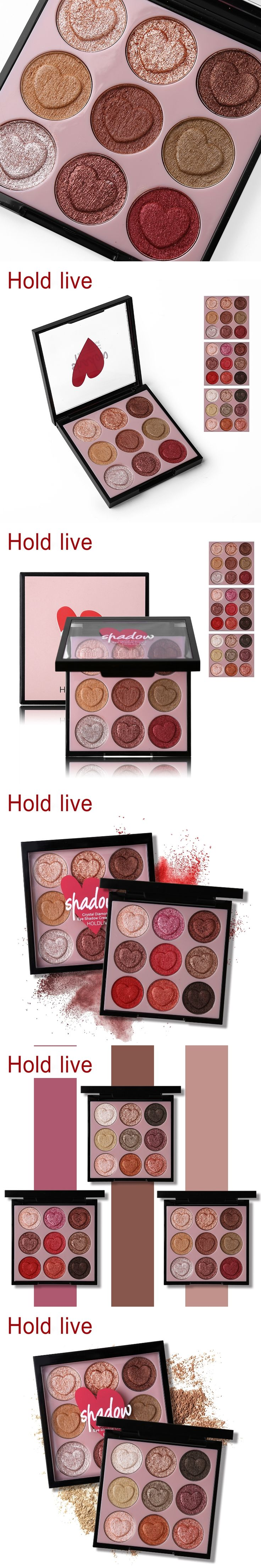 HOLD LIVE 9 Colors Heart Shaped Shimmer Eyeshadow Palette Glitter Eye Shadow Powder Pigment Smooth Warm Natural Nude Cosmetics