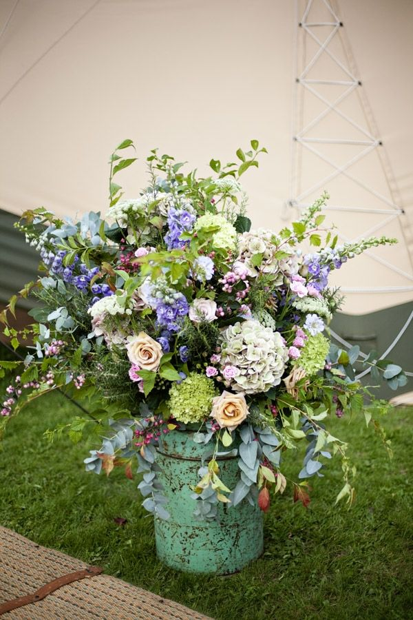 Country garden feel, hydrangeas, eucalyptus, ammi, delphiniums, roses