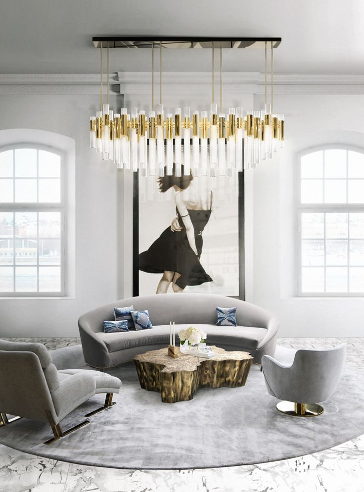 Waterfall chandelier in a modern living room do you need for Do your own interior design