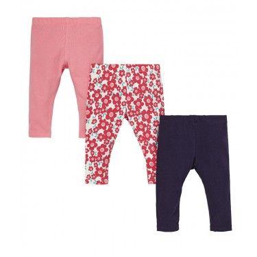 Леггинсы в различных дизайнах: цветочные / синие / розовые - 3 пары в упаковке