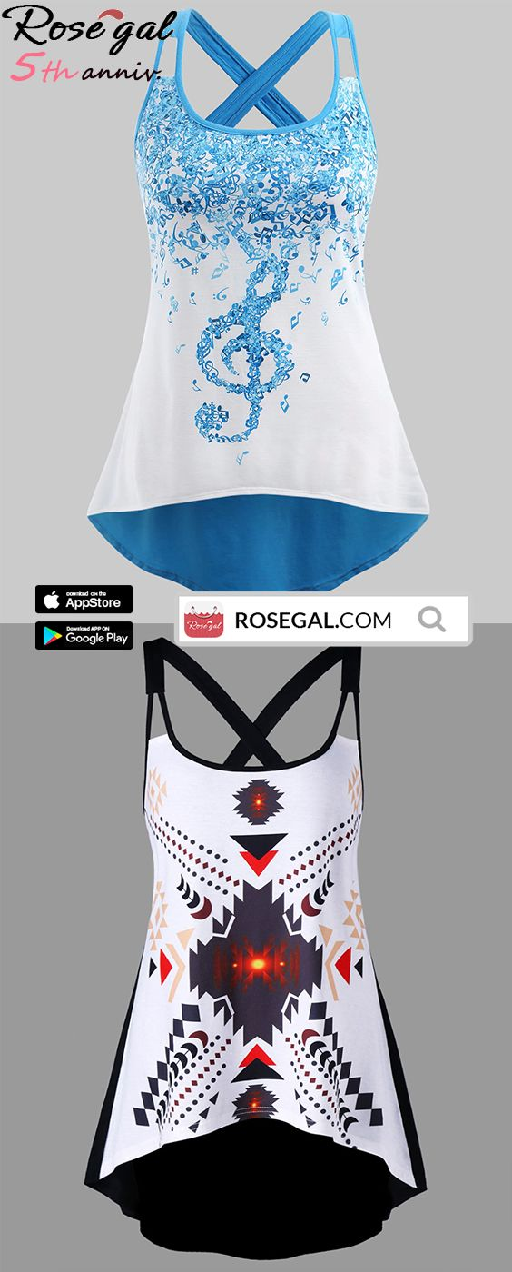 efd3c3b541e ROSEGAL 5th Anniversary Special Sale Plus Size Musical Notes High Low Tank  Top Plus Size Geometric High Low Tank Top free shipment worldwide