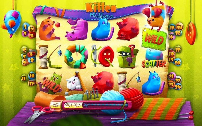 Kitten Mittens Slots Game Progress by Przemyslaw Piekarski, via Behance