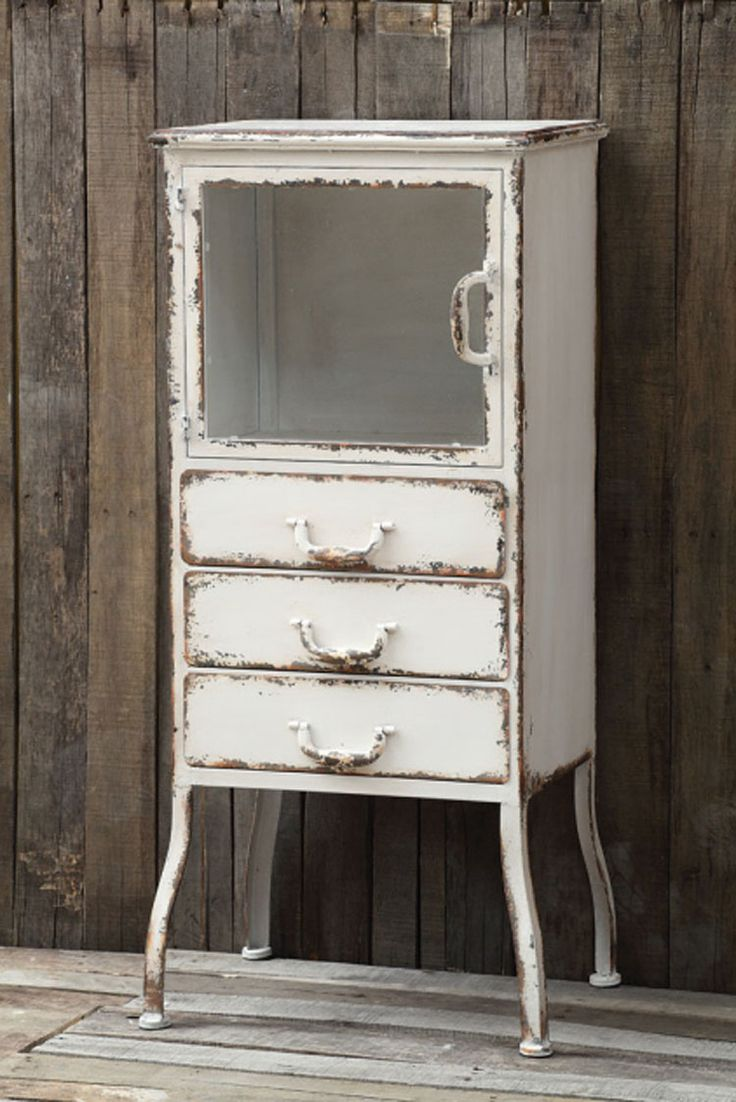 Farmhouse Distressed Metal Cabinet [CC-1924] - $365.00 : The Painted Cottage, Vintage Painted Furniture