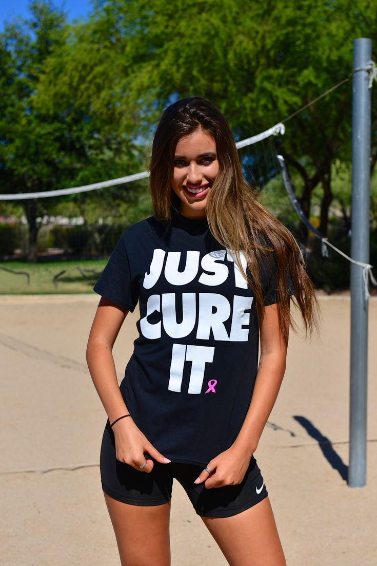 """""""Just Cure It"""" tee now available at shopdigpink.com. Order by Aug. 15th and save 10% using the code """"PINKOUT"""". 100% of the profits benefit stage 4 breast cancer research. #DigPink #volleyball #BeatCancer"""