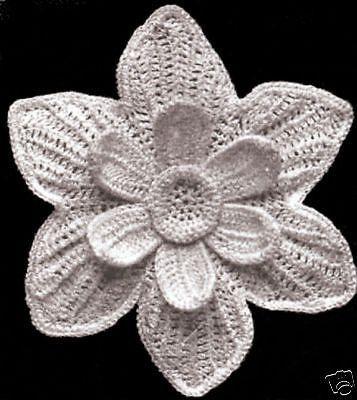Vintage Irish Crochet Pattern To Make Narcissus Flower Motif Design