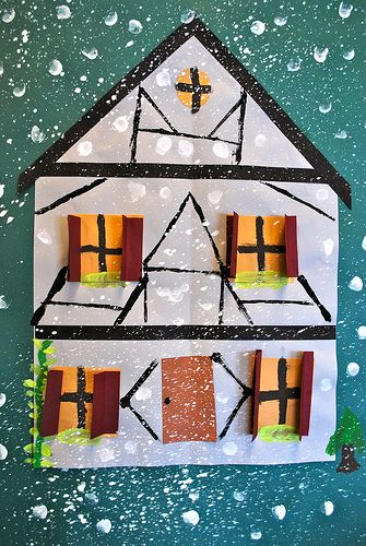 German Houses in the Winter, a fun winter lesson considering most of my students have German heritage!