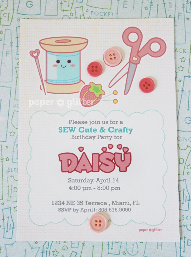 sewing craft party invitation for birthday or shower party
