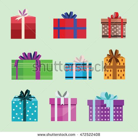 gift box birthday set present with different pattern. vector illustration 81