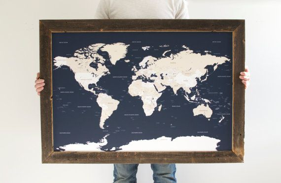 Navy World Map - Reclaimed Wood Push Pin Travel Map