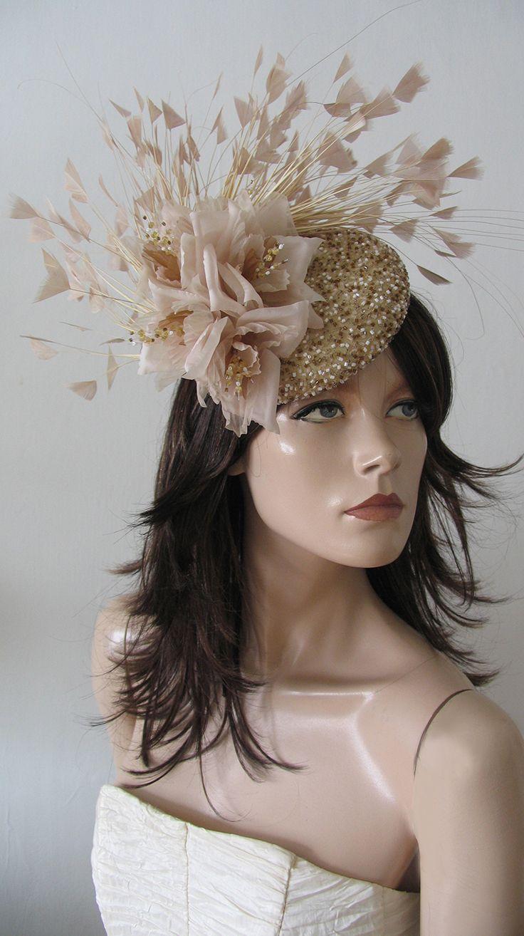 1760d5ec0bc49 Gold Almond Nude Beaded Silk Flower Fascinator Headpiece