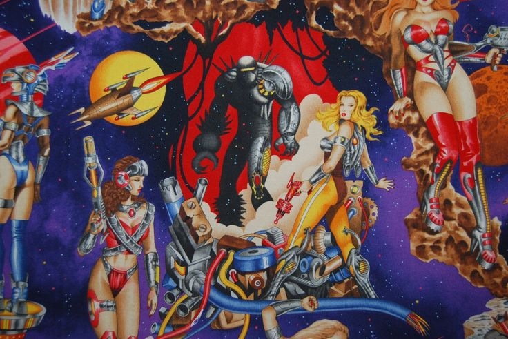 Alexander Henry fabric Pinups fabric Galactica Sci Fi Pin up girlsl fabric Space Alien Robots by vintageinspiration on Etsy