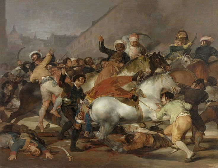 Goya's The Second of May 1808 was completed in 1814, two months before its companion work The Third of May 1808. It depicts the uprising that precipitated the executions of the third of May.