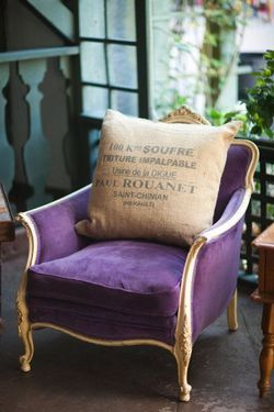 gold and purple chair