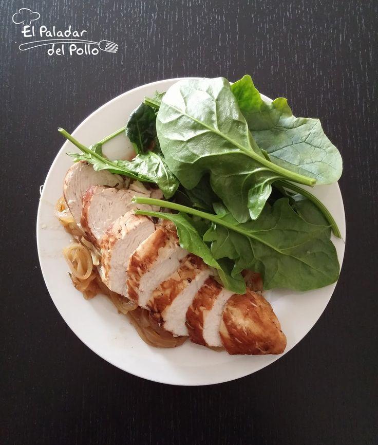 Receta de pollo al vinagre balsámico con cama de cebolla