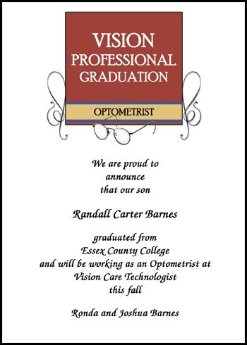 select from among the most popular optometry graduation announcements for commencement and optometrist graduating ceremony invitations, at discounted prices at GraduationCardsShop, card number 7589GCS-LM, discounted as low as .79 cents