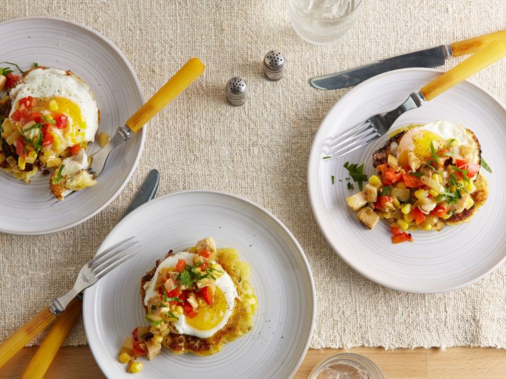 Potato Cakes with Fried Eggs and Turkey-Red Pepper Hash recipe  via Food Network