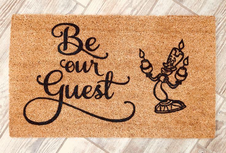 Beauty and the Beast door mat, Belle doormat, Lumiere, Disney door mat, be our guest doormat, disney doormat,Wedding gift, Disney home decor http://etsy.me/2ntHUYO  #housewarming #beourguest