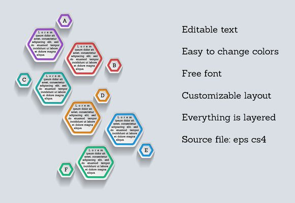 Infographic template - hexagons by stockimagefolio on @creativemarket