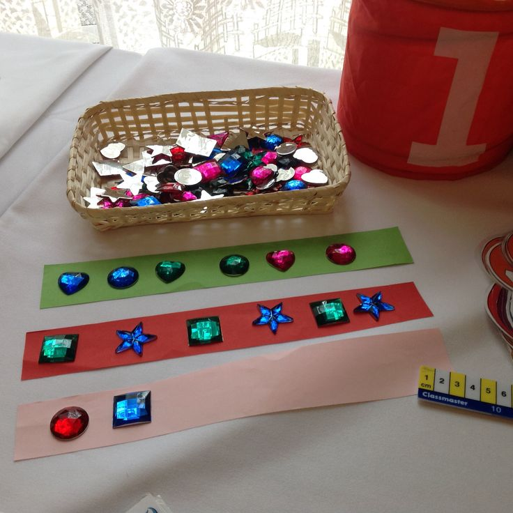 EY2P training ... Raising Attainment in Maths in Nursery... Shaped jewels... great for pattern making.LH