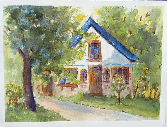 House Painting One Man's Dream original watercolor by PatChoffrut
