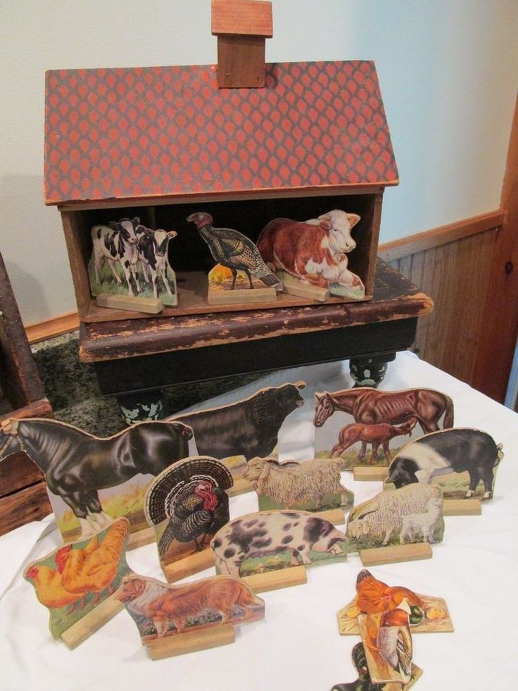 1900's Antique Toy Wooden Converse Barn with 16 Wood Farm Animals  #Converse