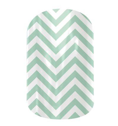 Mint green chevron nails