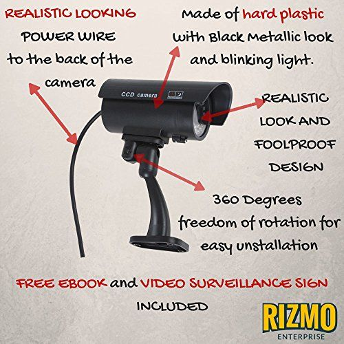 Rizmo Ultimate Fake Camera – Fake Security Camera Outdoor with Illuminating LED – Dummy Security Waterproof Camera – Fake Surveillance Camera with free video surveillance sign.