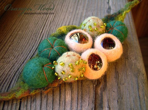 felted brooch magical wood