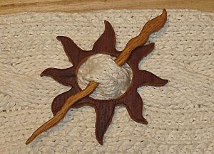 Scarf Pins Handmade | Eco Handmade Tribal Sun Wood Shawl Pin
