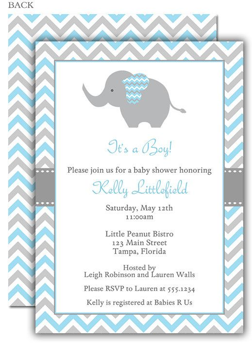 41 best baby shower elephant invitations images on pinterest chevron elephant blue baby shower invitation filmwisefo Images