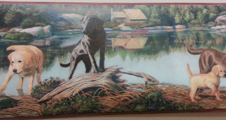 Dogs Labs Lake Scene Wildlife Wallpaper Border #TC48122B #Chesapeake