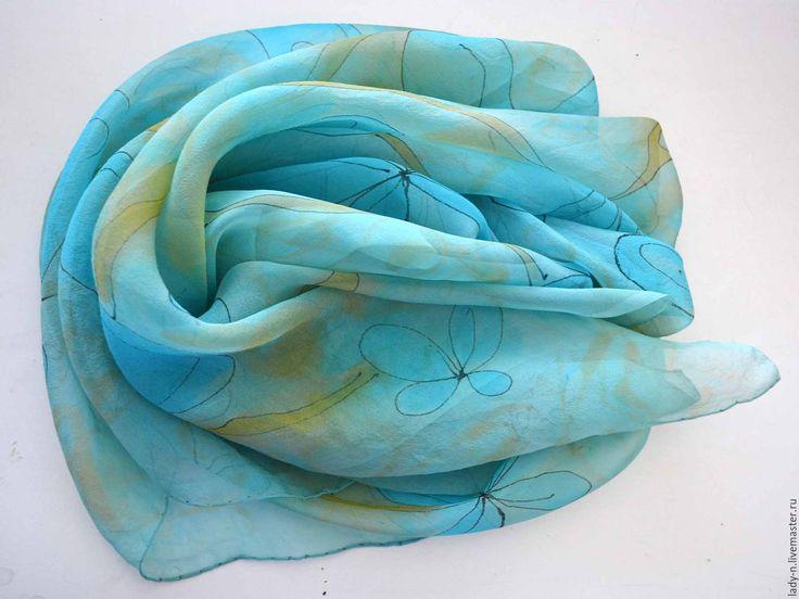 """Купить Платок """"Цветы для морской царевны"""", батик, шелковый шифон - шёлковый платок батик"""