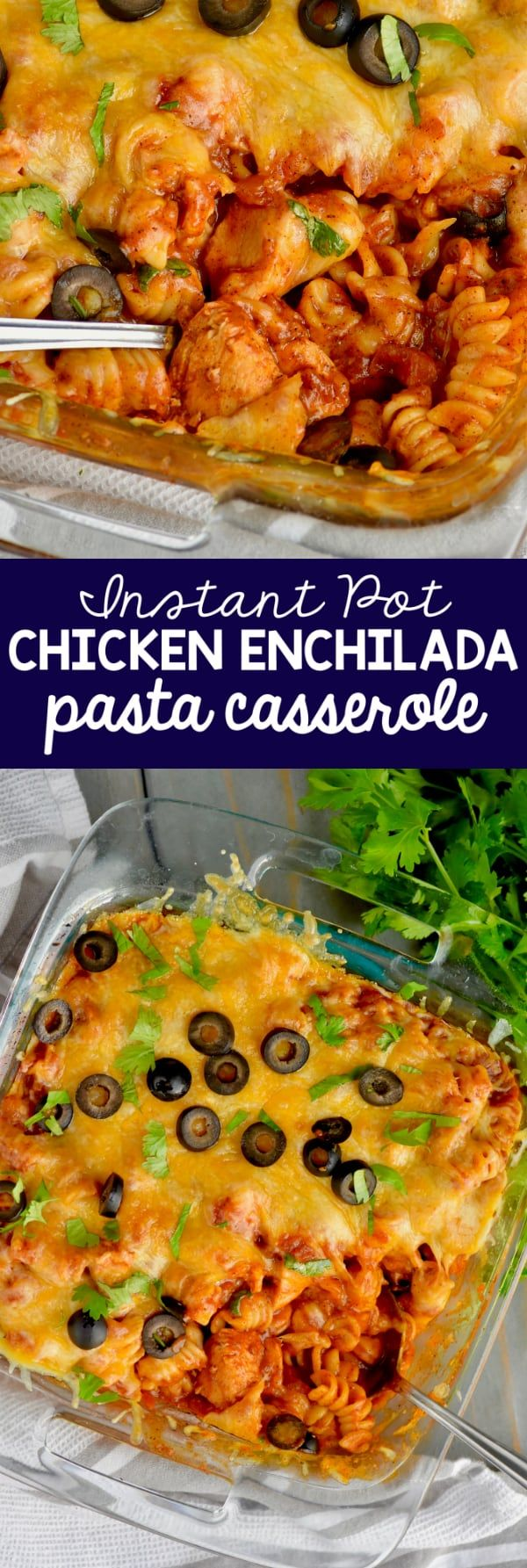 This Instant Pot Chicken Enchilada Pasta Casserole makes the perfect dinner! The hands on time for this dinner recipe is only about ten minutes!