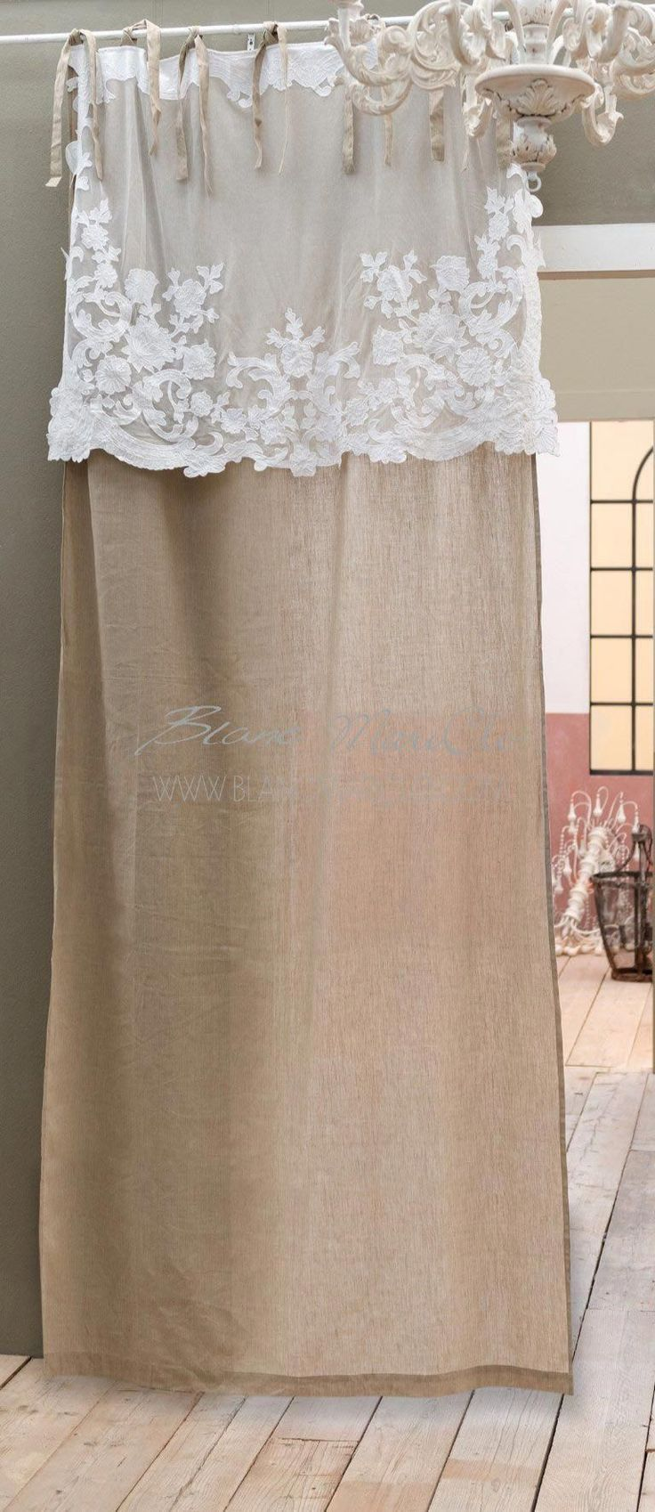 "Shabby Chic Curtain with ""Arabella Collection"" Blanc Mariclò Bubble. Material: 55% linen 45% cotton Dimensions: 140×290 cm Exclusive selection Blanc MariClò. #Shabbychicbathrooms"