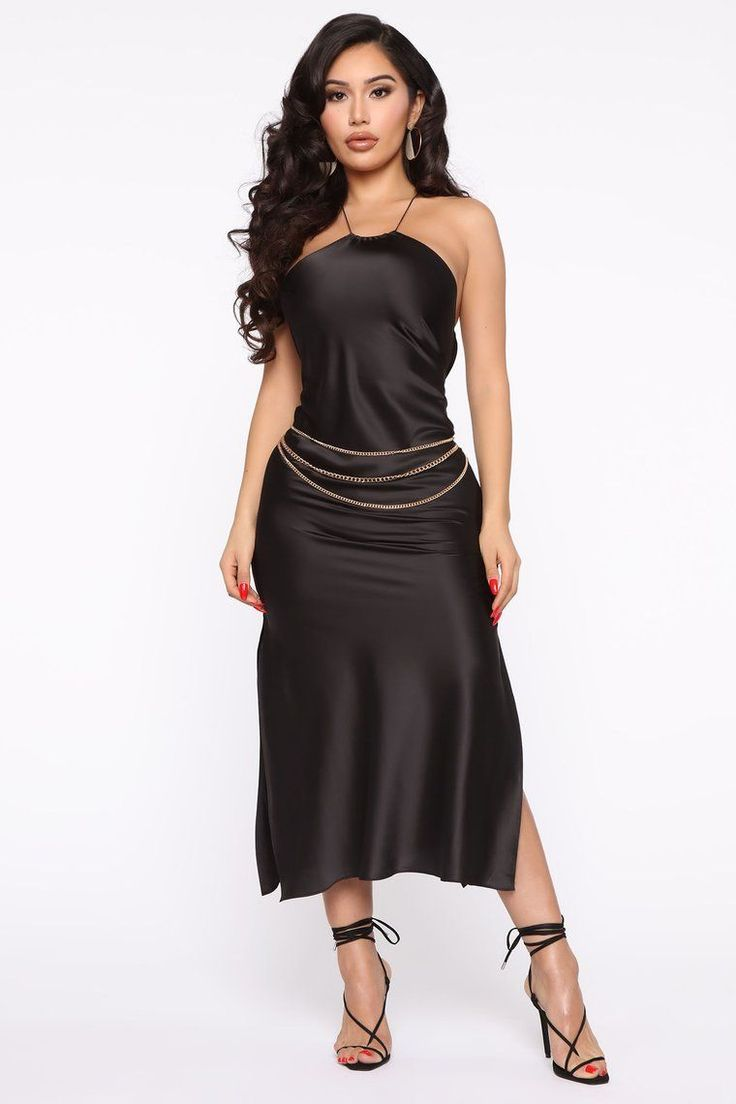 Big Dreams Satin Maxi Dress Black Fashion Nova