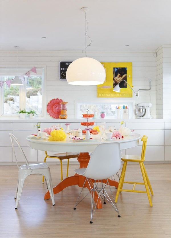 happy, sunny, eat-in kitchen