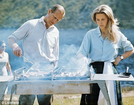 Prince Philip and Princess Anne barbecuing in 1972.  The Princess should wear her hair down more often!