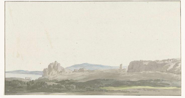 Louis Ducros | Gezicht op een rots bij de Golf van Tarente in de buurt van Gallipoli, Louis Ducros, 1778 | Tekening uit het album 'Voyage en Italie, en Sicile et à Malte', 1778.