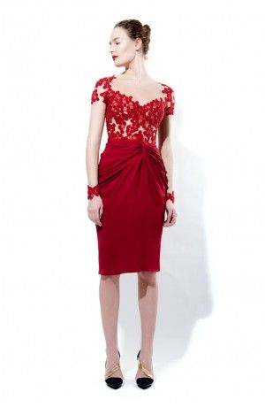 LACE, TULLE AND CREPE KNOTTED DRESS - Rhea Costa-Shop