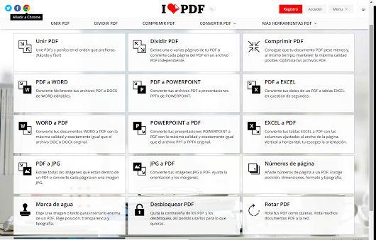 ILOVEPDF Herramientas online y completamente gratuitas para unir PDF, separar PDF, comprimir PDF, convertir documentos Office a PDF, PDF a JPG y JPG a PDF. También como extensión de Google Chrome. https://www.ilovepdf.com/es  +info: @ilovepdf_com