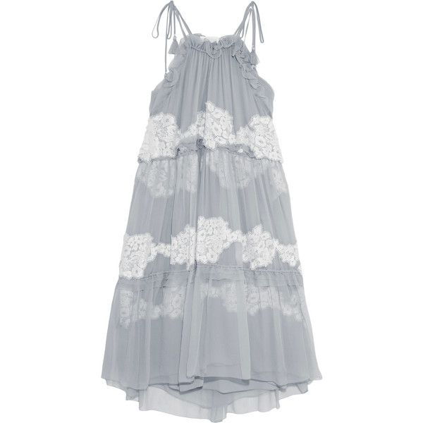 Chloé Crocheted lace-paneled silk-georgette dress (139.980 RUB) ❤ liked on Polyvore featuring dresses, grey, slip dress, slimming dresses, lace front dress, chloe dress and slimming slip