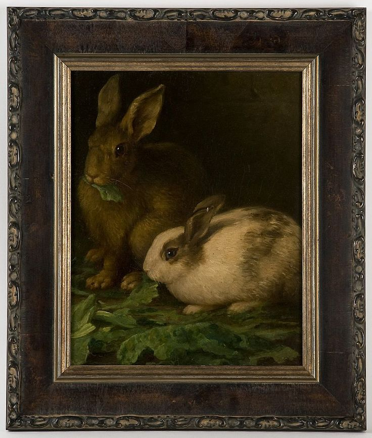 Borofsky Oil Painting Rabbits 19th C Oil On Canvas Of