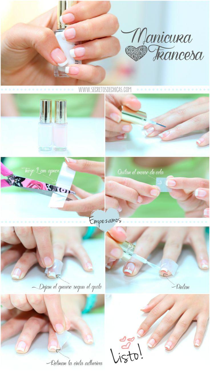 DIY: Manicura francesa. Hazlo tu misma de una manera muy fácil y rápida con cinta adhesiva.