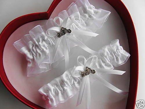 Harley Motorcycle Wedding Garter SET White ON