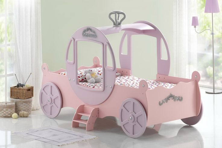 The princess shall go to the ball... and in style. The fabulous Princess Carriage Bed is certain to make any little girl's day. The Princess Carriage Bed features her majesty's tiny steps, the royal wheels and a regal carriage top complete with windows. The bed is great for role plays and letting a child's imagination run wild. http://www.chicconcept.co.uk/childrens-beds/3037-chic-disney-princess-carriage-bed-pink-mattress.html