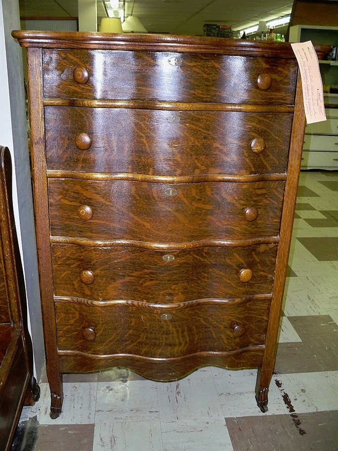 An additional photo of the vintage Tiger Oak bedroom suite for sale from Booth #113 (#9113), including a full-size bed (headboard, foot-board and side-rails), chest of drawers and a dresser with mirror... Priced at $1500.00!.... You can see this lovely bedroom set for yourself, upstairs in the consignment area at Treasure Cove Mall!