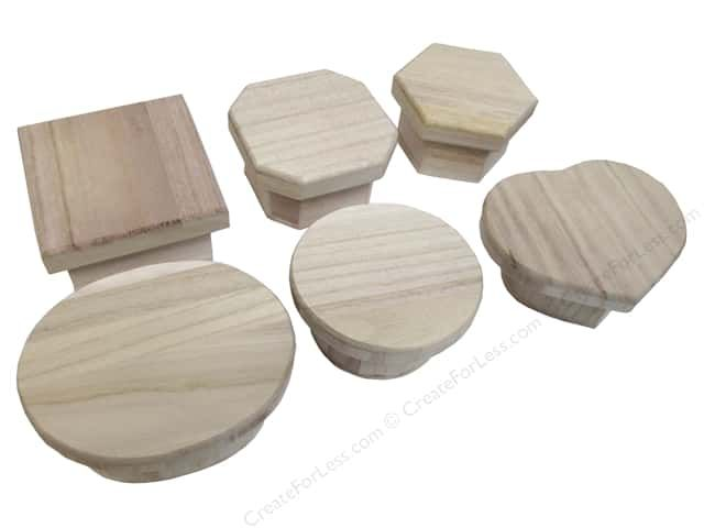 Darice Wood Boxes with Magnetic Lids are unfinished wood boxes with smooth sanded edges, ready for you to decorate. Lid attaches with 2 recessed magnets. Assorted shapes are hexagon, heart, circle, square, oval, and square with mitered corners. 2 1/2 x 4 inch. Assortment.