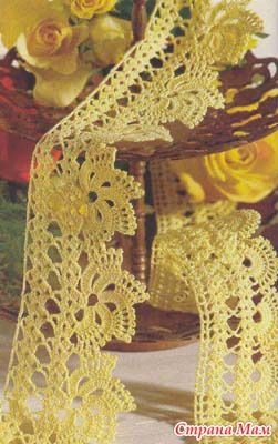 yellow crochet edging - didn't find the yellow lace but the link has some great stuff. Lace may be there just in older posts.