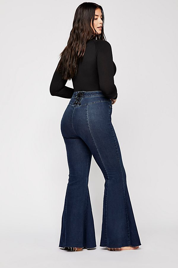 52ff1c52ad2f6d CRVY Super High-Rise Lace-Up Flare Jeans in 2019 | Free People ...