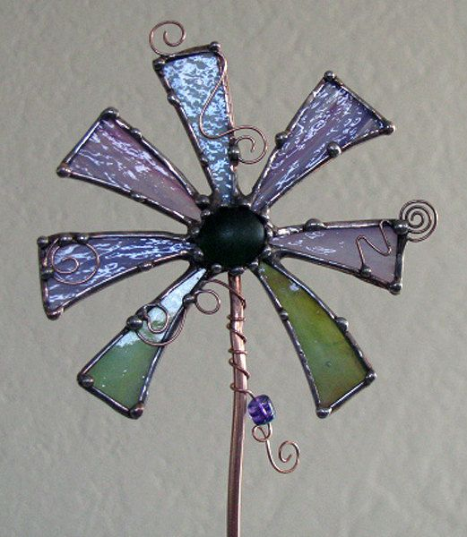 Purple and Sage Green STained Glass copper garden by Groovyglass, $34.00